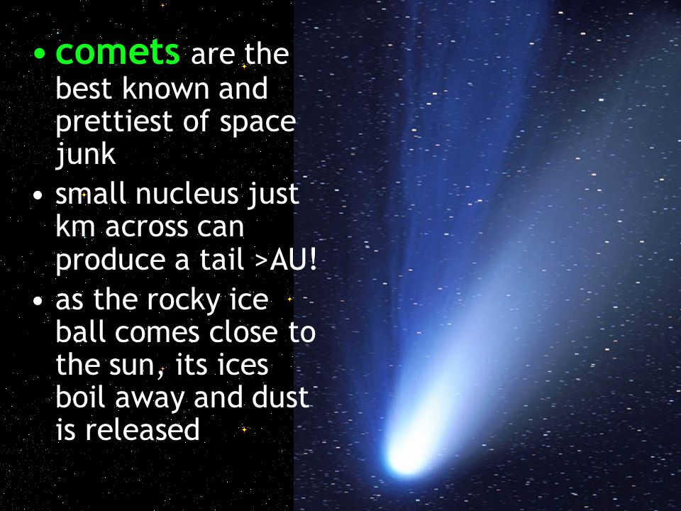 comets are the best known and prettiest of space junk