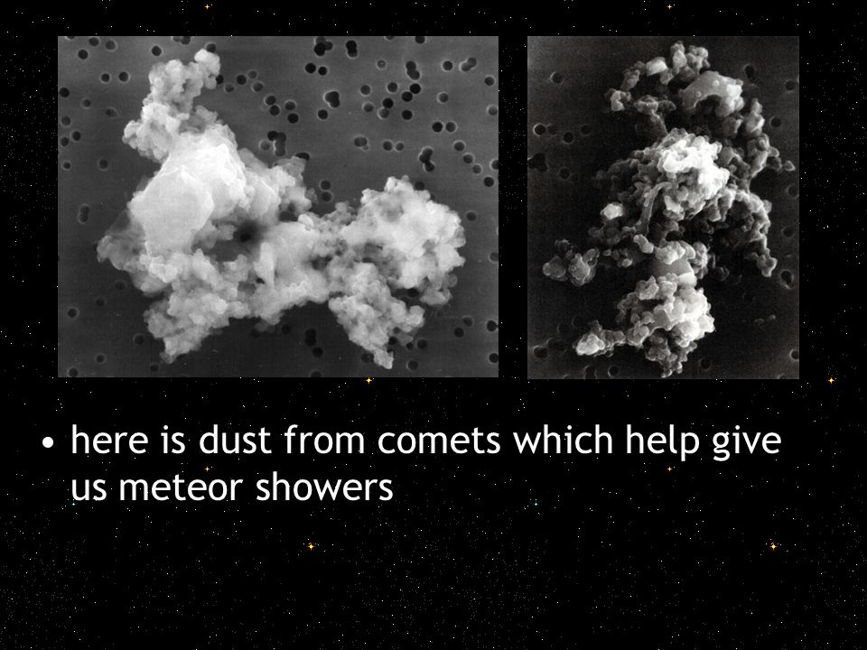 here is dust from comets which help give us meteor showers