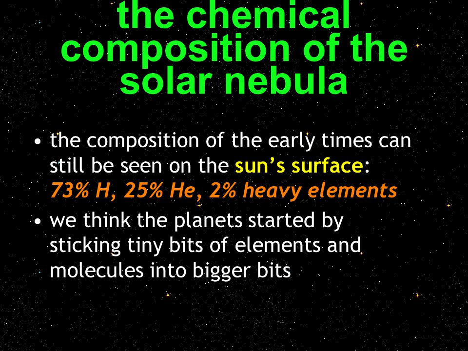 the chemical composition of the solar nebula