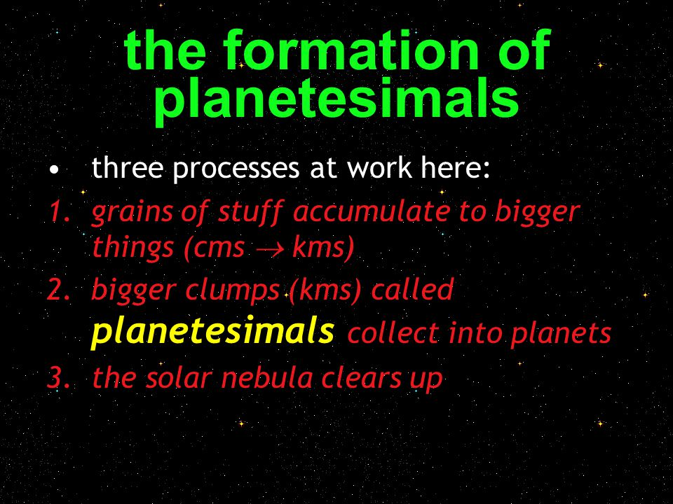 the formation of planetesimals