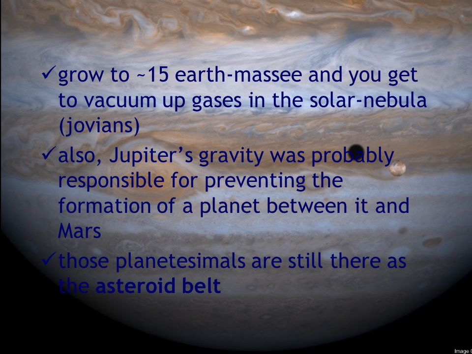 grow to ~15 earth-massee and you get to vacuum up gases in the solar-nebula (jovians)