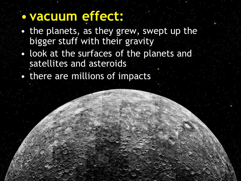 vacuum effect: the planets, as they grew, swept up the bigger stuff with their gravity.