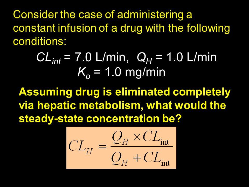 CLint = 7.0 L/min, QH = 1.0 L/min Ko = 1.0 mg/min