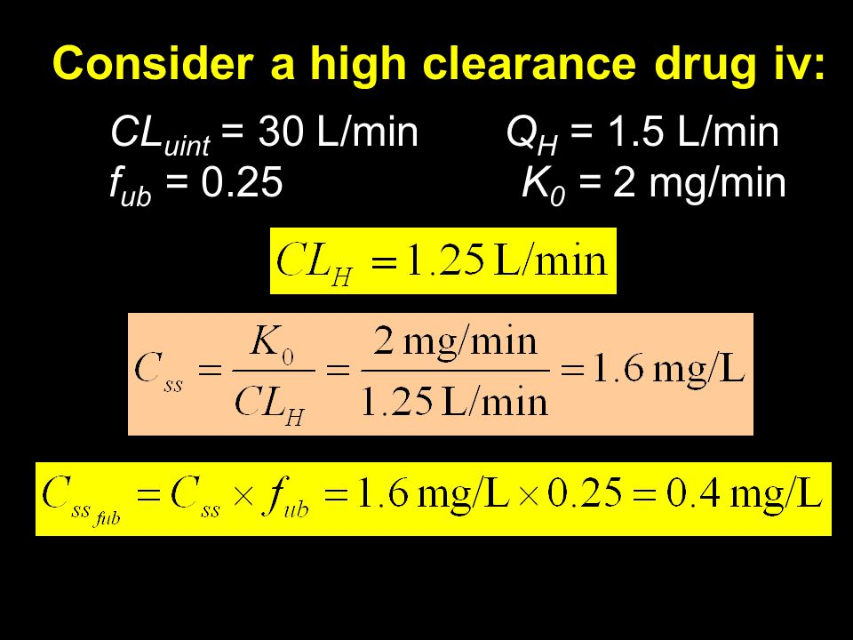 Consider a high clearance drug iv: