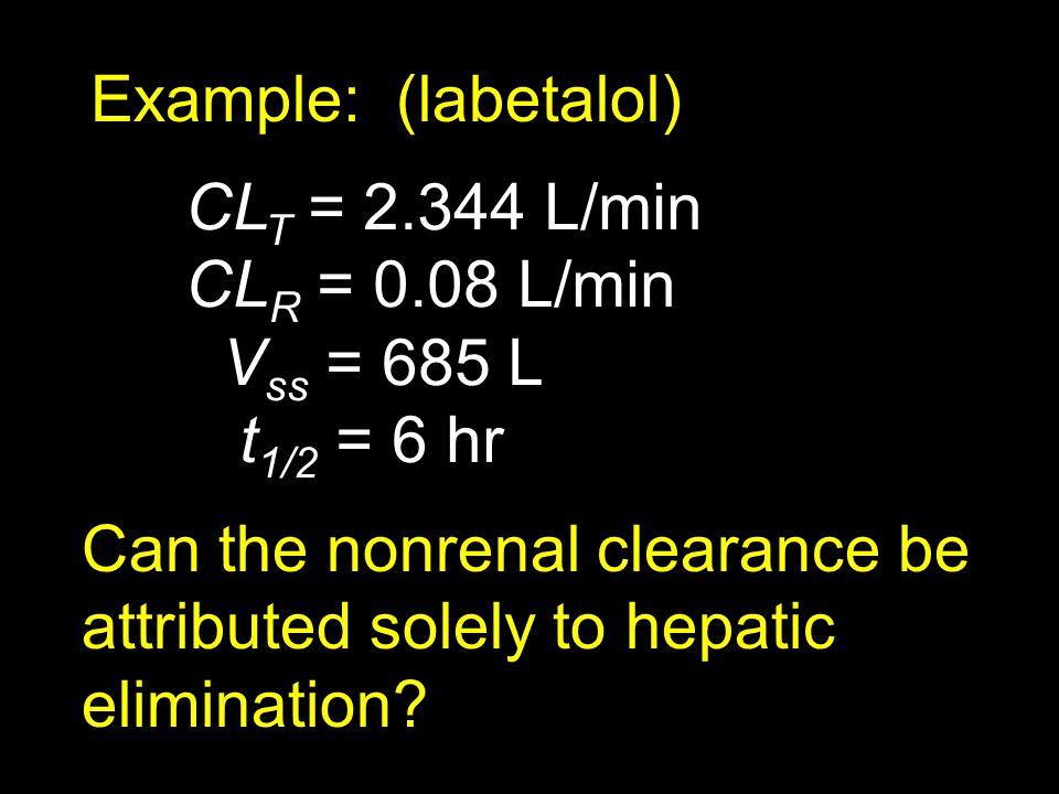 Example: (labetalol) CLT = 2.344 L/min. CLR = 0.08 L/min. Vss = 685 L. t1/2 = 6 hr.