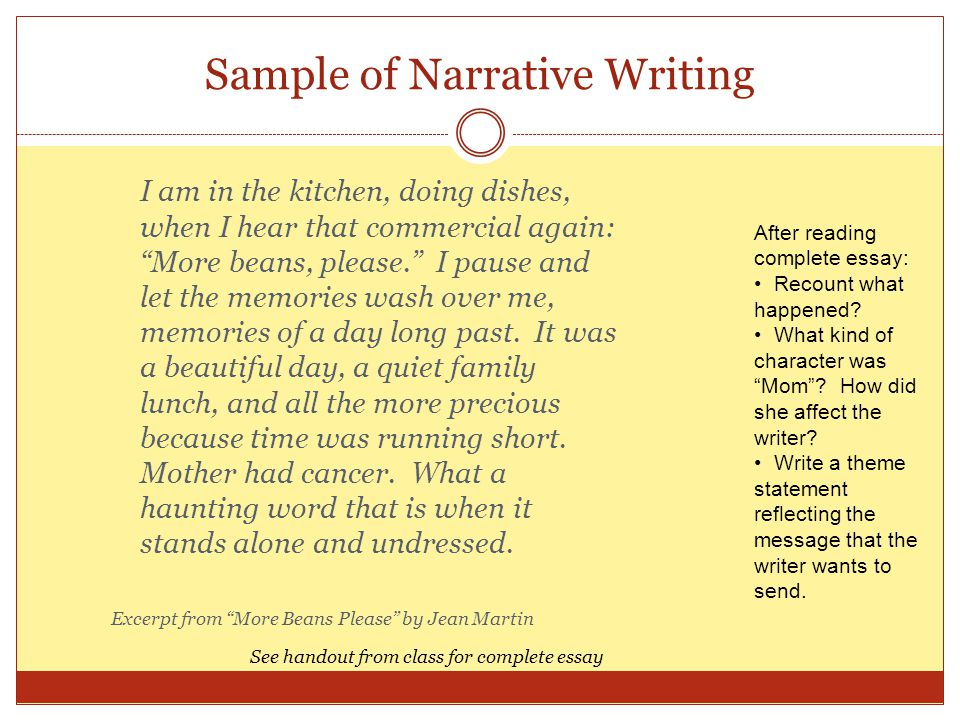 Sample of Narrative Writing