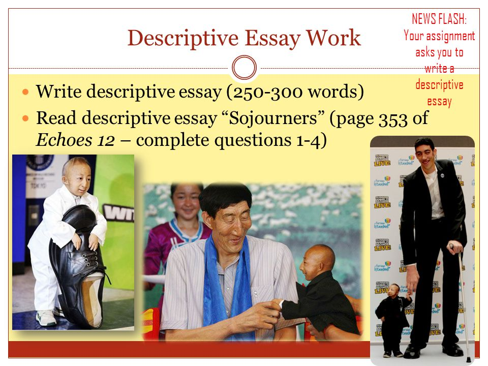 Descriptive Essay Work