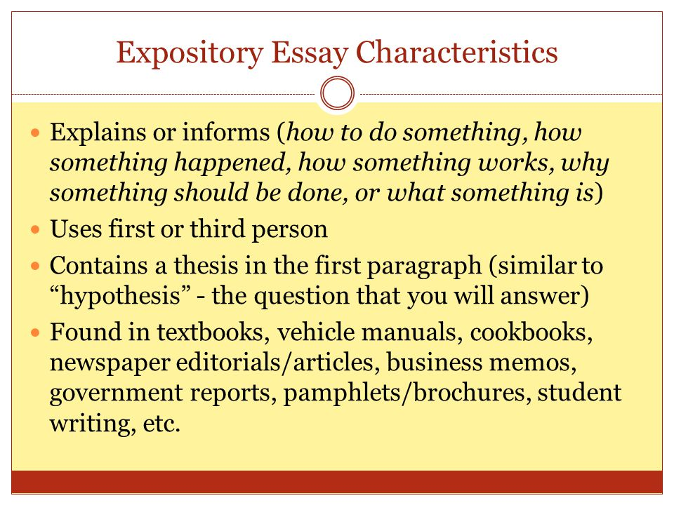 Is an expository essay written in first person