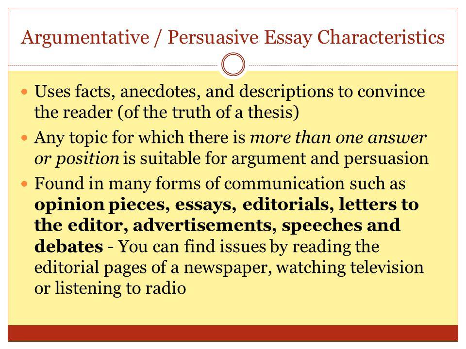 Persuasive Essay Qualities