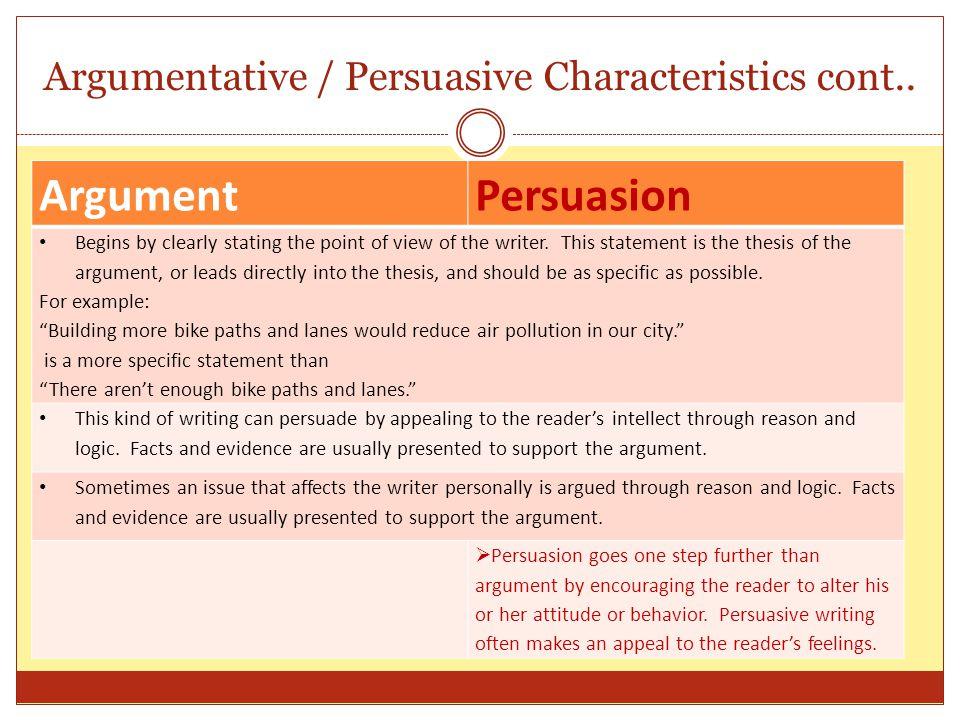 Argumentative / Persuasive Characteristics cont..