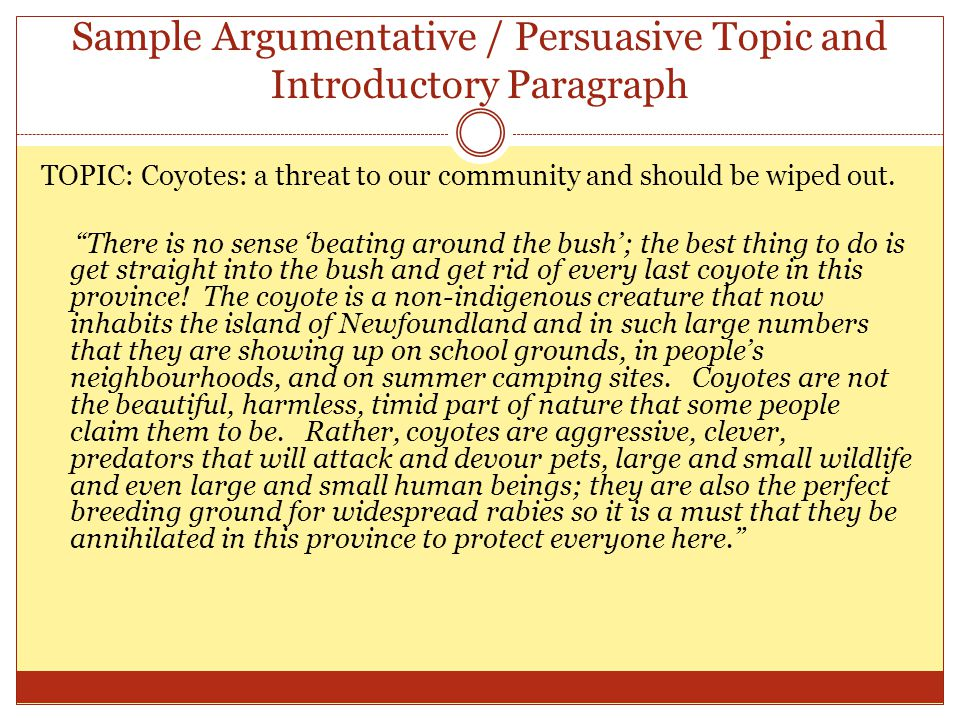 Sample Argumentative / Persuasive Topic and Introductory Paragraph