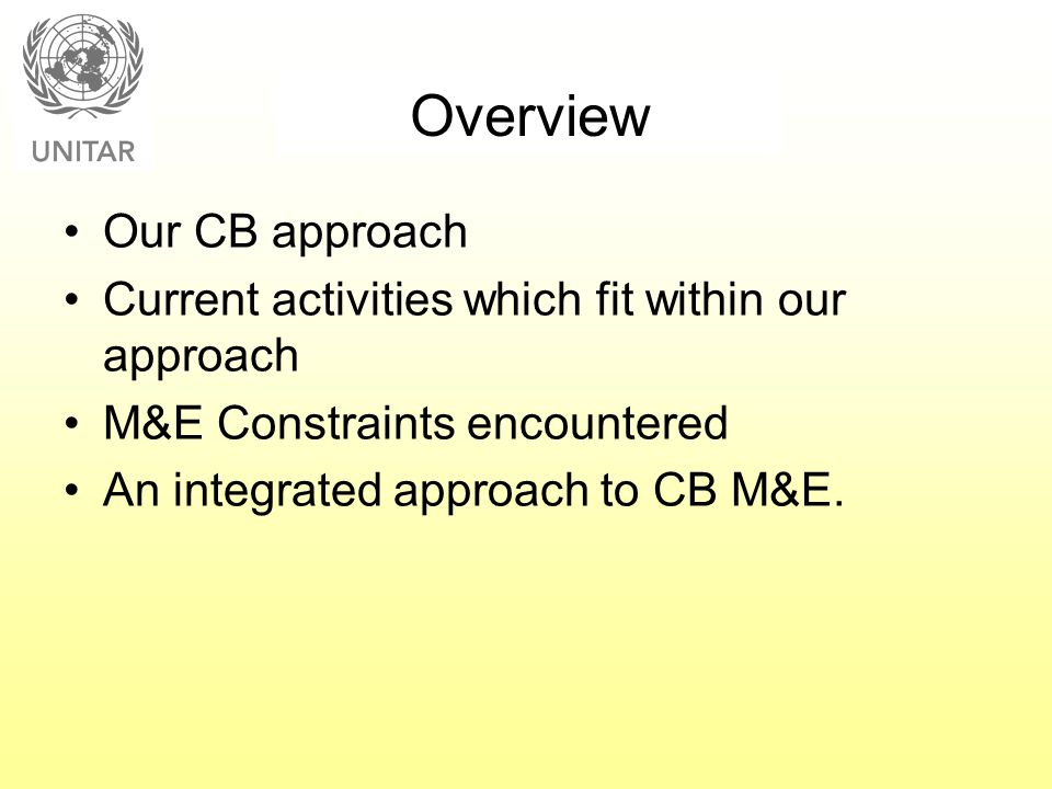Overview Our CB approach