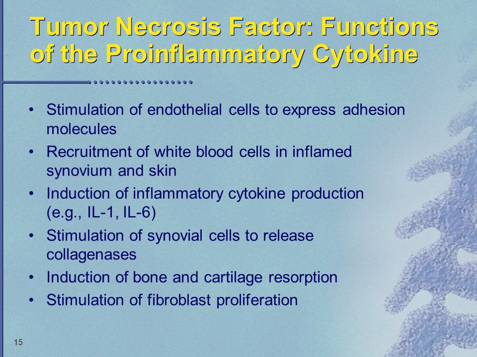 Tumor Necrosis Factor: Functions of the Proinflammatory Cytokine