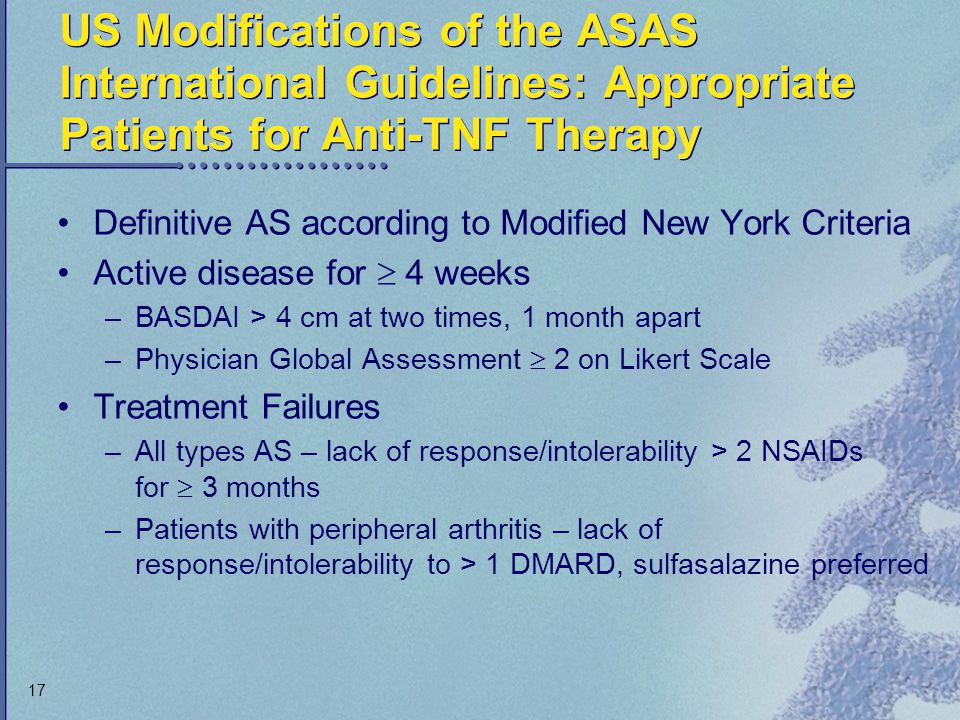 US Modifications of the ASAS International Guidelines: Appropriate Patients for Anti-TNF Therapy