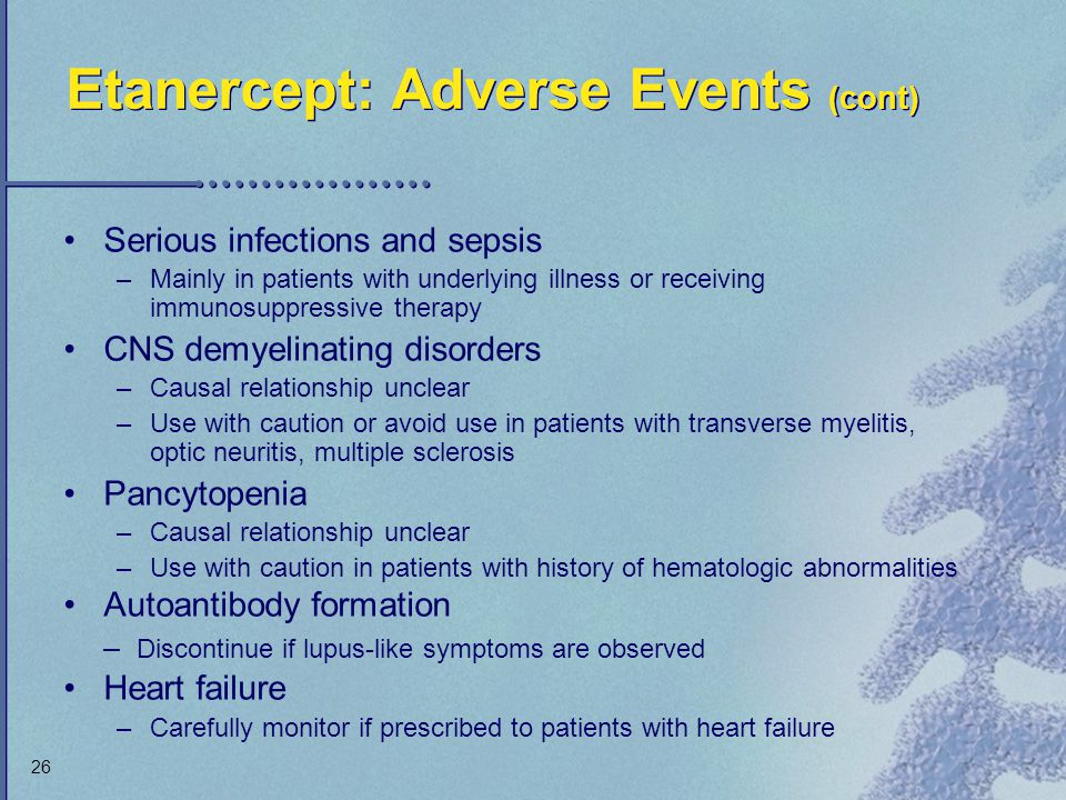 Etanercept: Adverse Events (cont)