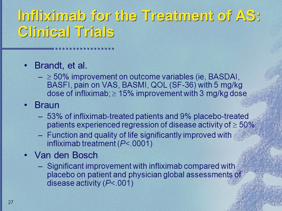Infliximab for the Treatment of AS: Clinical Trials