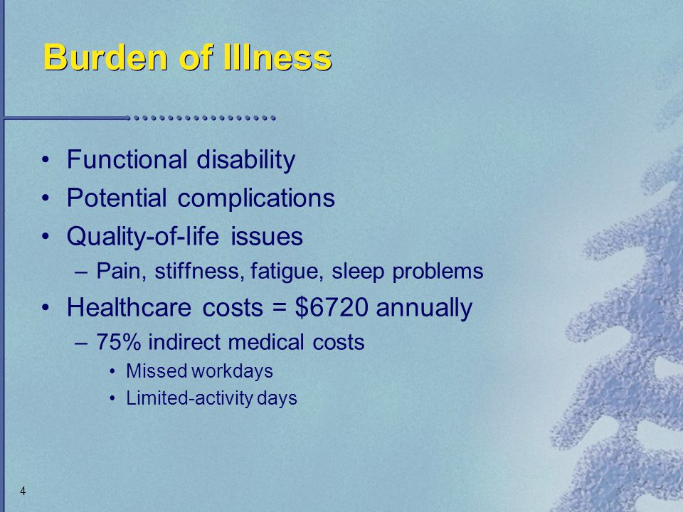 Burden of Illness Functional disability Potential complications