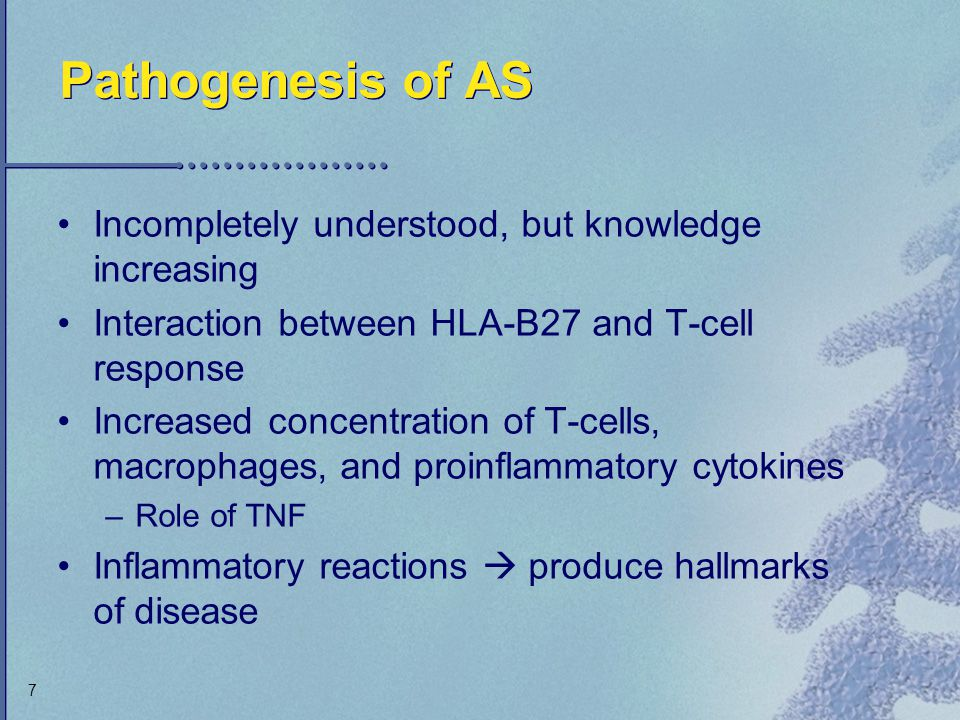 Pathogenesis of AS Incompletely understood, but knowledge increasing