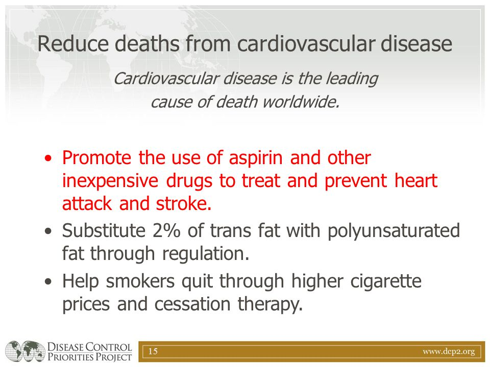 Reduce deaths from cardiovascular disease