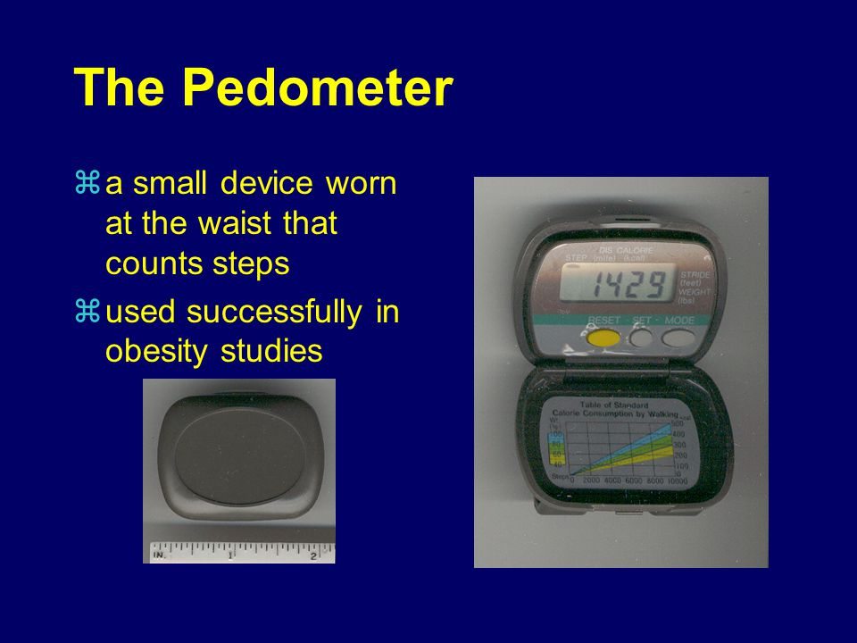 The Pedometer a small device worn at the waist that counts steps