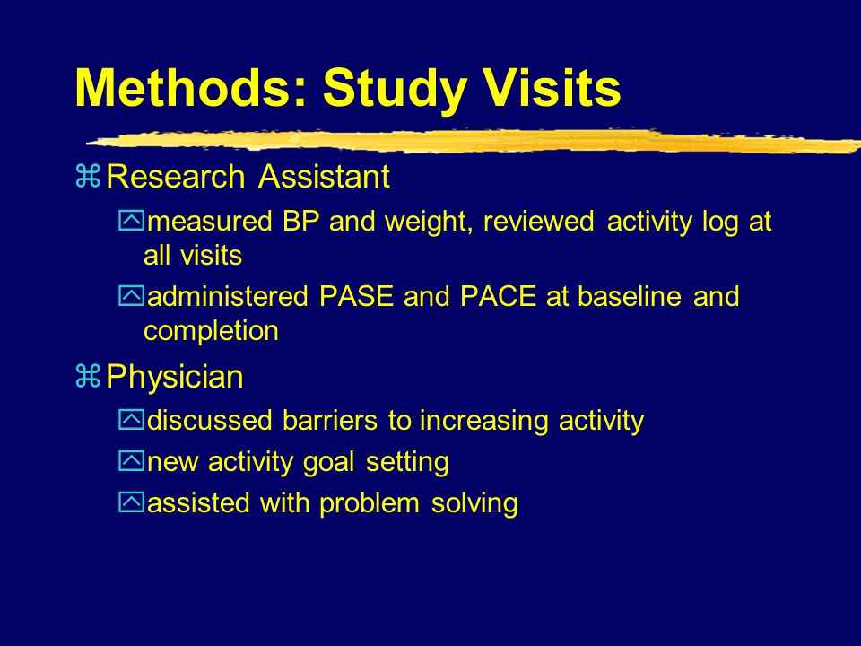 Methods: Study Visits Research Assistant Physician
