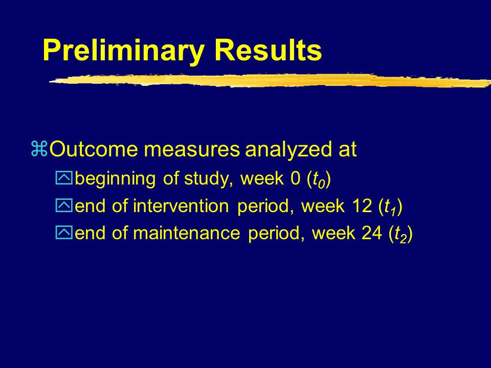 Preliminary Results Outcome measures analyzed at