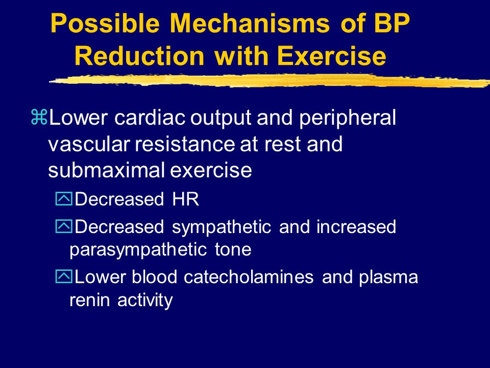 Possible Mechanisms of BP Reduction with Exercise