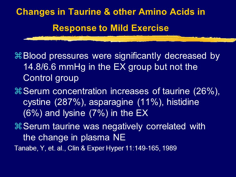 Changes in Taurine & other Amino Acids in Response to Mild Exercise