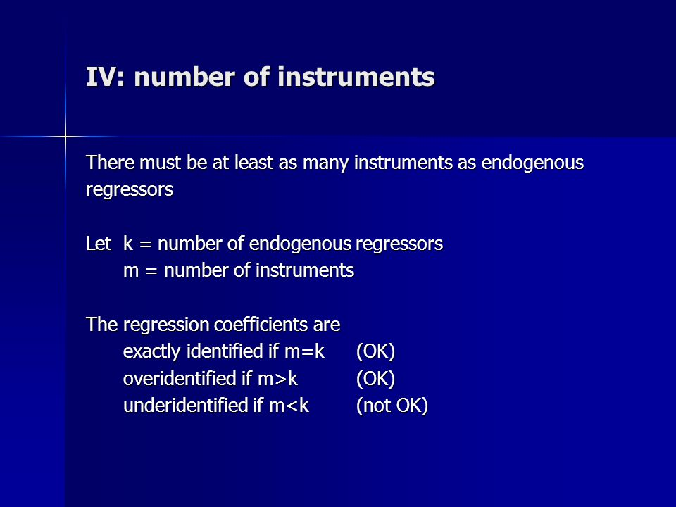 IV: number of instruments