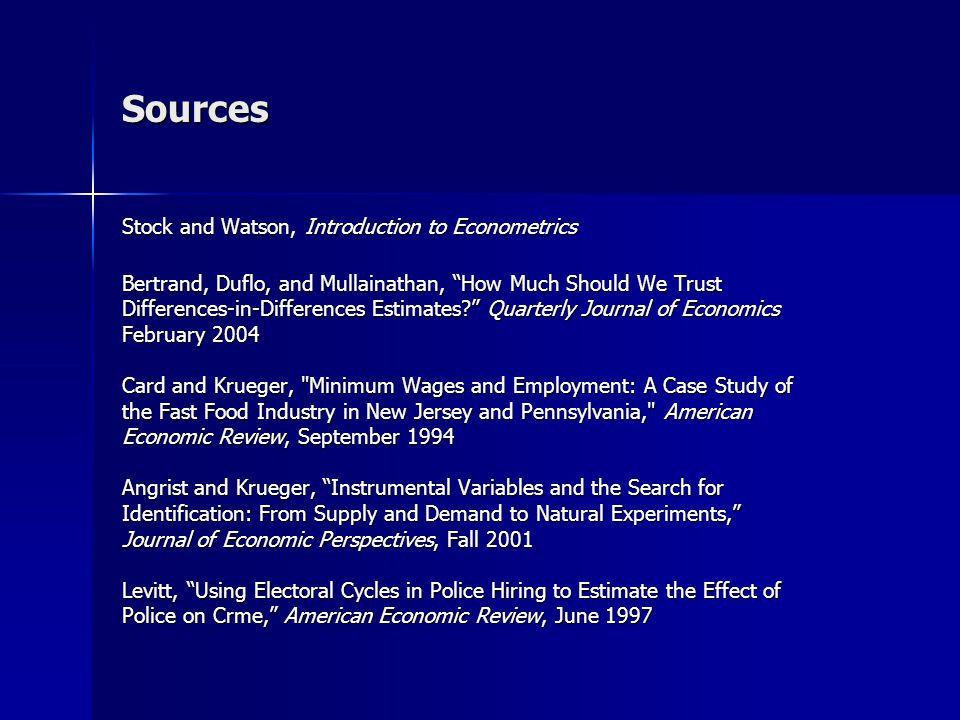 Sources Stock and Watson, Introduction to Econometrics