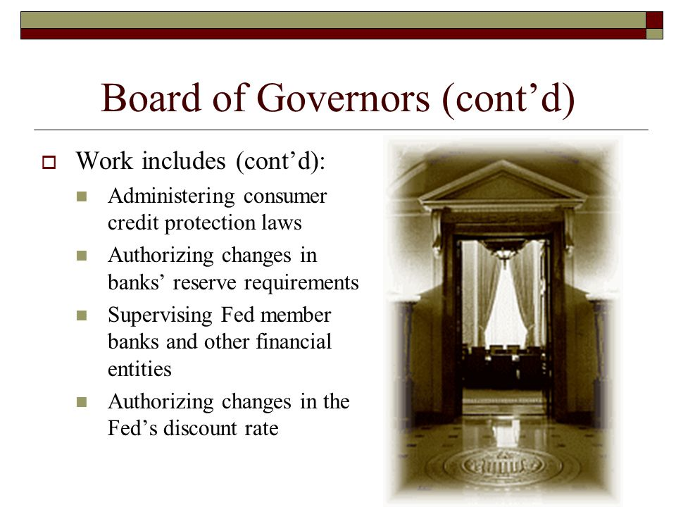 Board of Governors (cont'd)
