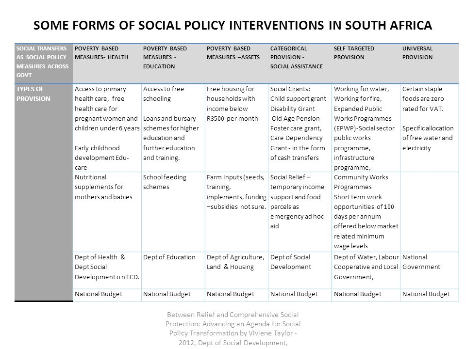 SOME FORMS OF SOCIAL POLICY INTERVENTIONS IN SOUTH AFRICA