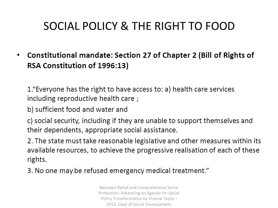SOCIAL POLICY & THE RIGHT TO FOOD