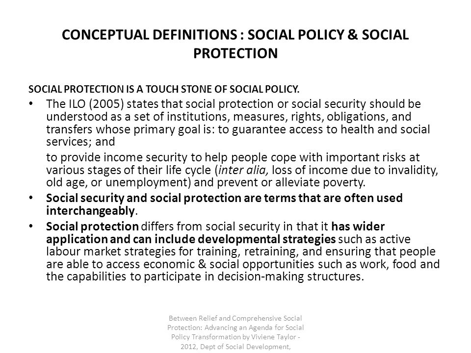 CONCEPTUAL DEFINITIONS : SOCIAL POLICY & SOCIAL PROTECTION