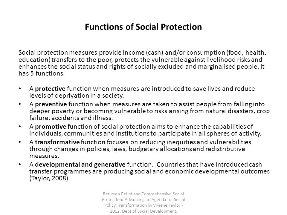 Functions of Social Protection