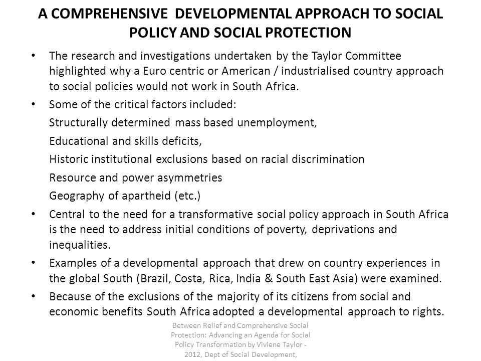 A COMPREHENSIVE DEVELOPMENTAL APPROACH TO SOCIAL POLICY AND SOCIAL PROTECTION