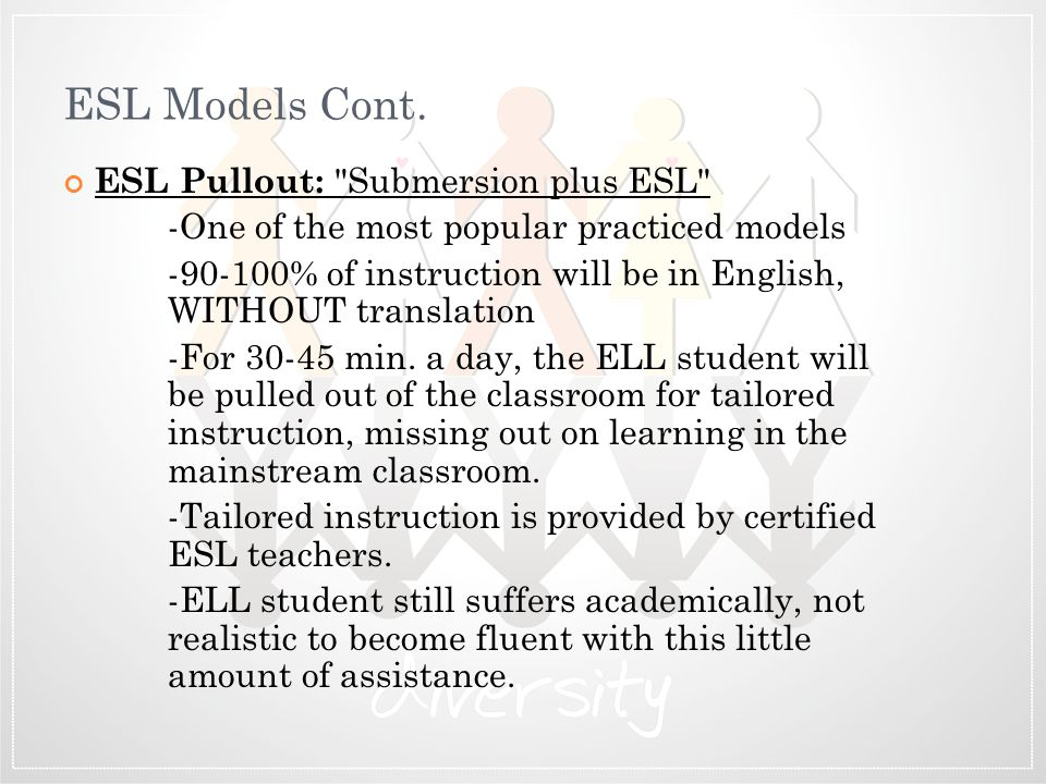 ESL Models Cont. ESL Pullout: Submersion plus ESL