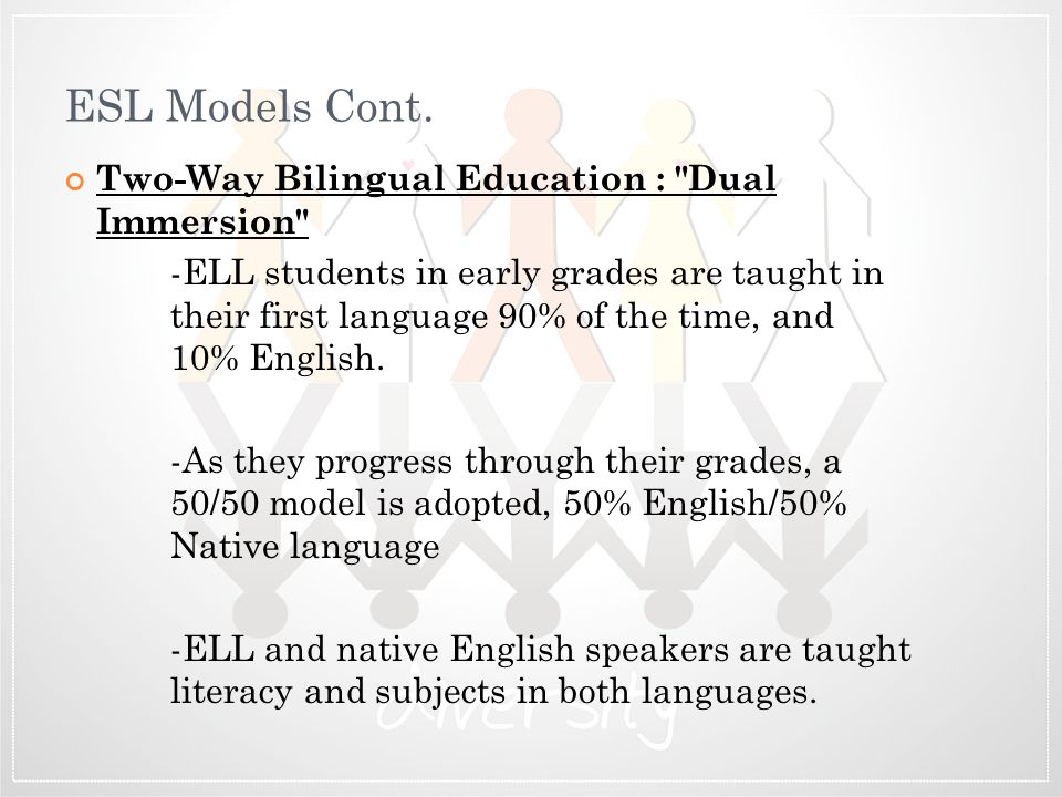 ESL Models Cont. Two-Way Bilingual Education : Dual Immersion