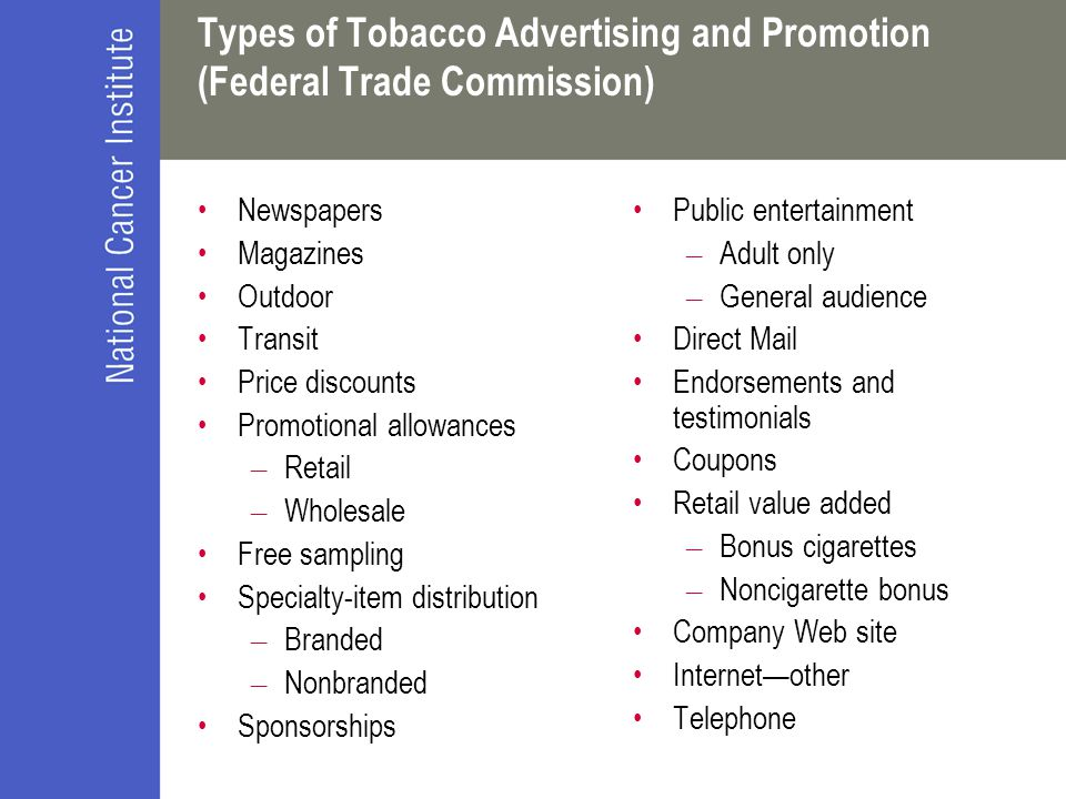 Types of Tobacco Advertising and Promotion (Federal Trade Commission)