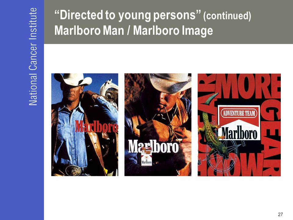 Directed to young persons (continued) Marlboro Man / Marlboro Image