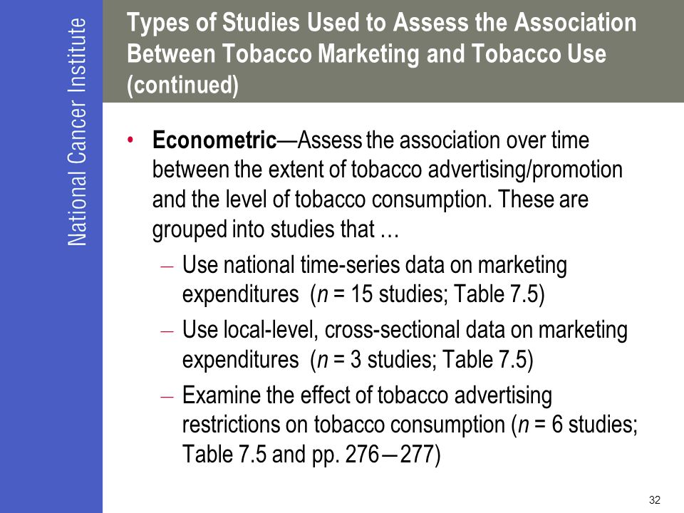 Types of Studies Used to Assess the Association Between Tobacco Marketing and Tobacco Use (continued)