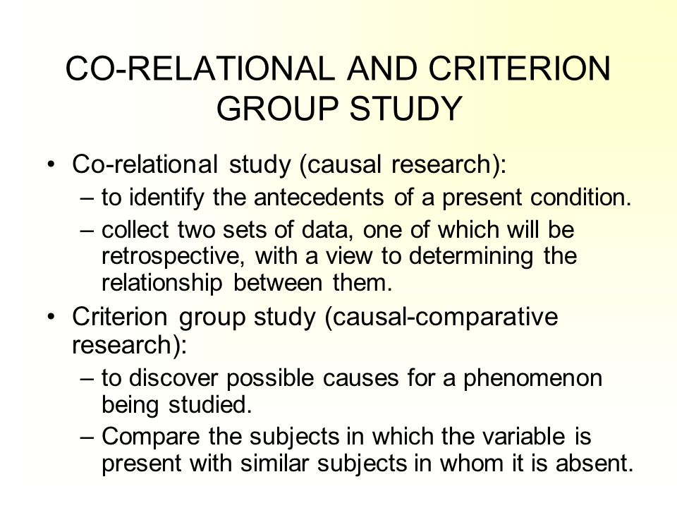 CO-RELATIONAL AND CRITERION GROUP STUDY