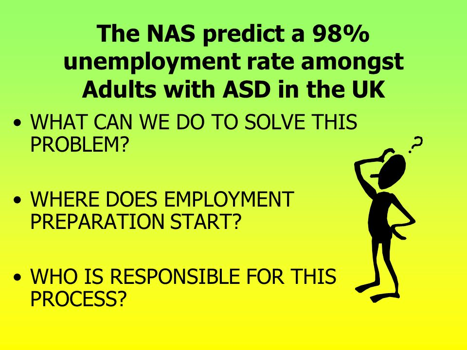 The NAS predict a 98% unemployment rate amongst Adults with ASD in the UK