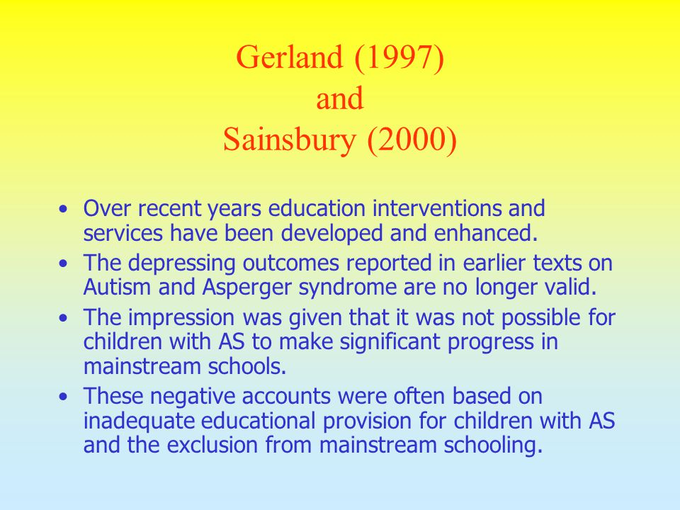 Gerland (1997) and Sainsbury (2000)
