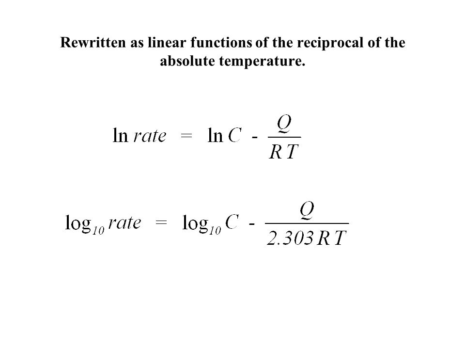 Rewritten as linear functions of the reciprocal of the absolute temperature.