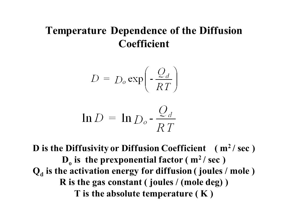 Temperature Dependence of the Diffusion Coefficient D is the Diffusivity or Diffusion Coefficient ( m2 / sec ) Do is the prexponential factor ( m2 / sec ) Qd is the activation energy for diffusion ( joules / mole ) R is the gas constant ( joules / (mole deg) ) T is the absolute temperature ( K )