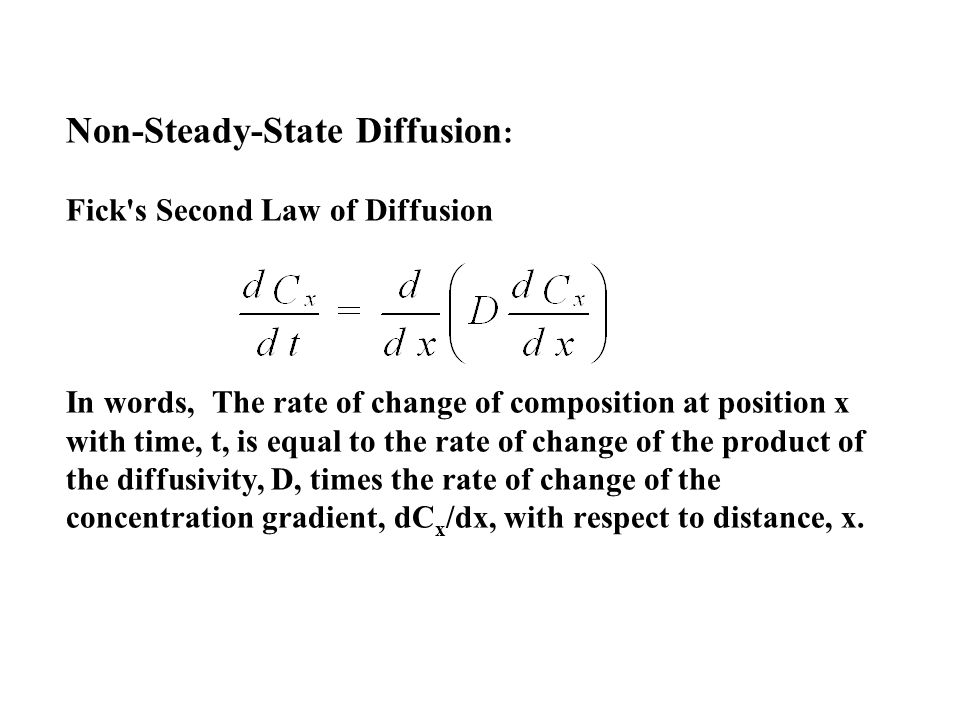 Non-Steady-State Diffusion: Fick s Second Law of Diffusion In words, The rate of change of composition at position x with time, t, is equal to the rate of change of the product of the diffusivity, D, times the rate of change of the concentration gradient, dCx/dx, with respect to distance, x.
