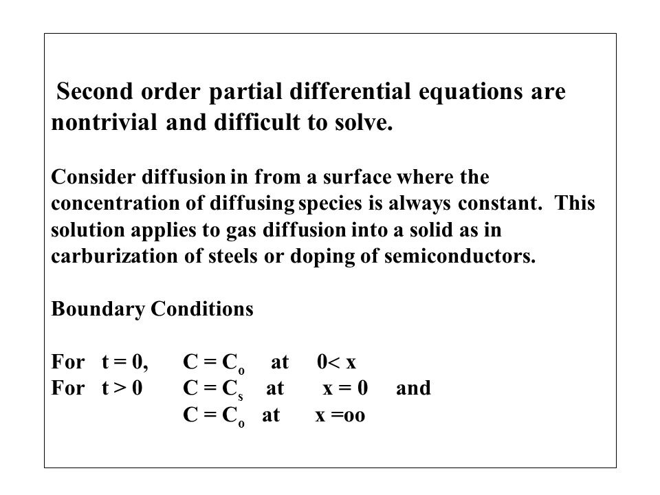 Second order partial differential equations are nontrivial and difficult to solve.