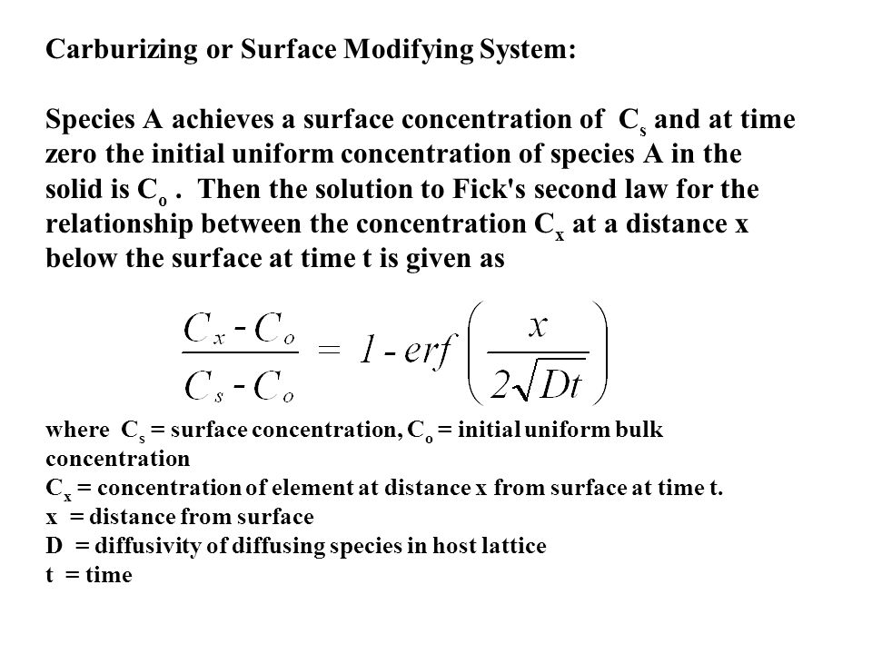 Carburizing or Surface Modifying System: Species A achieves a surface concentration of Cs and at time zero the initial uniform concentration of species A in the solid is Co .