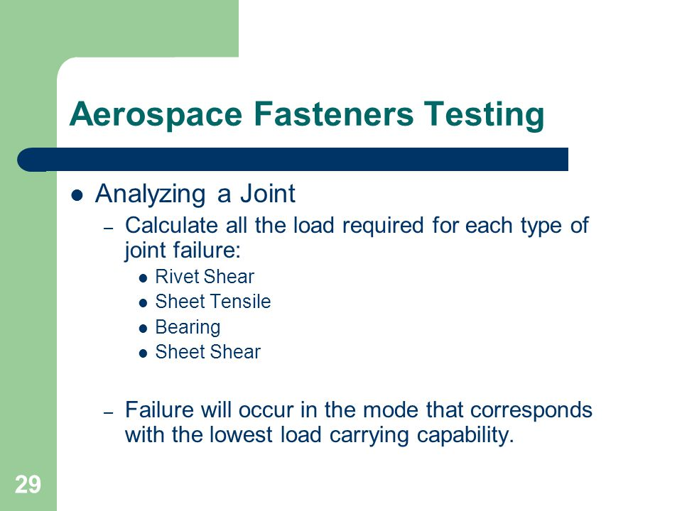 Aerospace Fasteners Testing